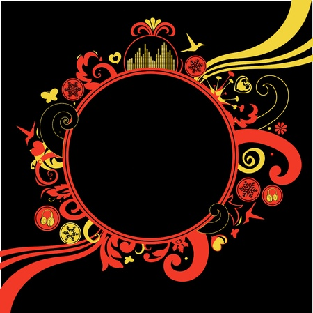 back round: floral, funky frame on the black background with a blank space for your own text.