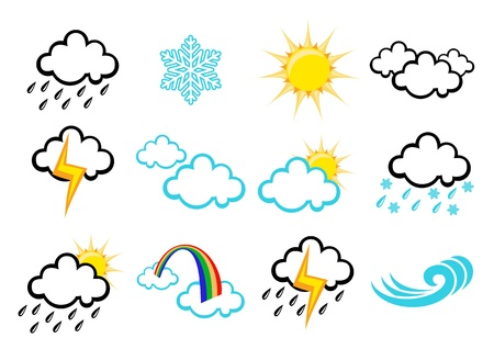 all weather:  set of elegant Weather Icons for all types of weather Stock Photo