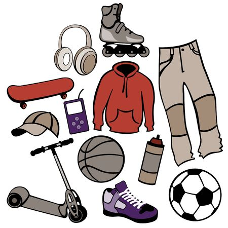 urban life:  man accessories set related to urban life style. Foto de archivo