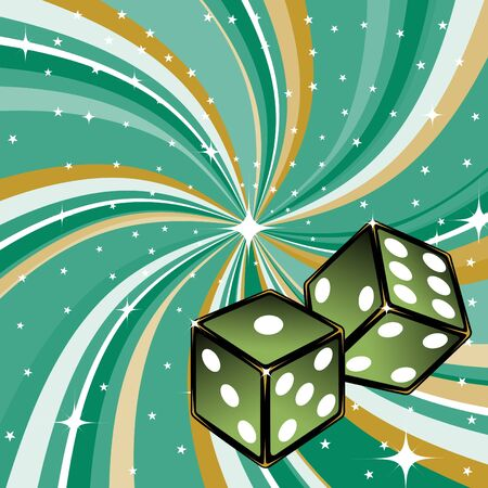 two dice on the beautifull shiny green background. Casino items. photo