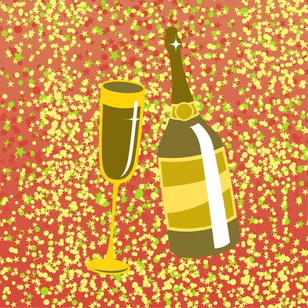wine bottle and  glass on the red background, decorated with beautiful stars. Stock Photo - 9960195