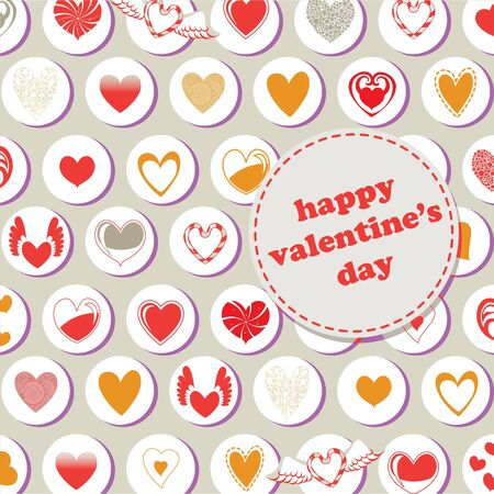 Valentines Day pattern, decorated with different kinds of heart.