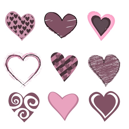 dating icons: beautifull hearts icon set. Ideal for Valetine Cards decoration.