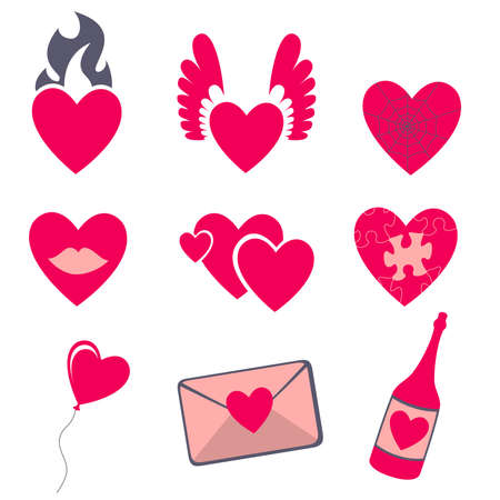 fire heart: Love icons.  Ideal for Valetine Cards decoration Stock Photo