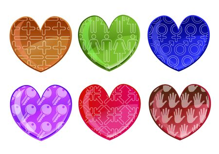 beautifull hearts icon set. Ideal for Valetine Cards decoration. photo