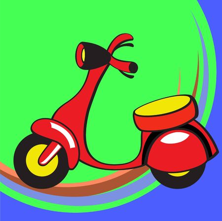 Transport Cartoon. Little funny scooter. photo