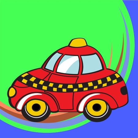 Transport Cartoon. Little funky taxi car. Stock Photo - 9960168