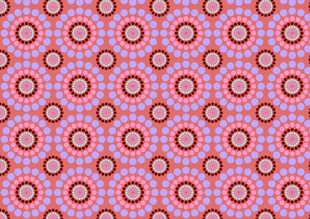 rounding: illustration of circle flowers abstract pattern on the pink background Stock Photo
