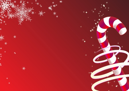 illustration of christmas background. Includes candy and snowflakes. Foto de archivo