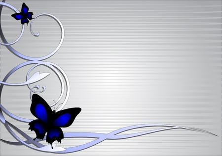 illustration of butterfly background with decorating ornament