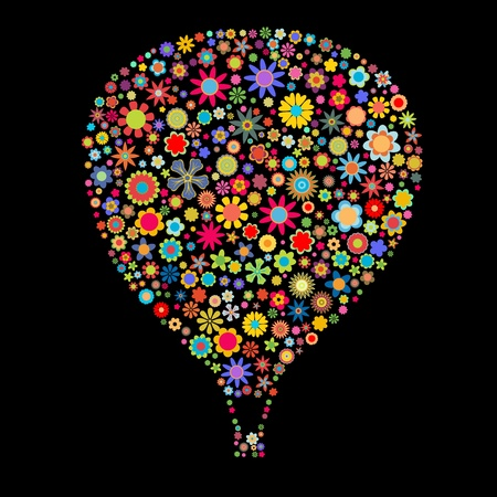 colored balloons: illustration of Hot Air Balloon shape made up a lot of  multicolored small flowers on the black background Stock Photo