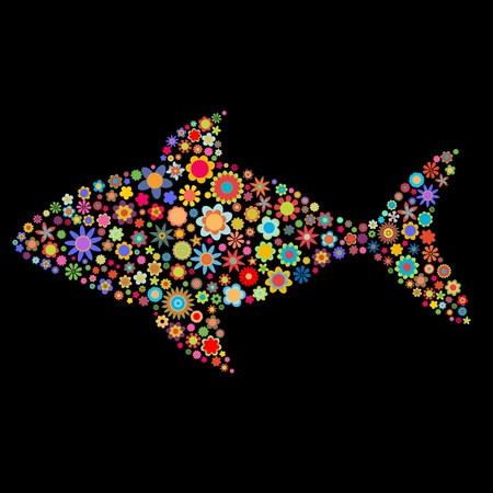 underwater fishes: illustration of fish shape made up a lot of  multicolored small flowers on the black background Stock Photo