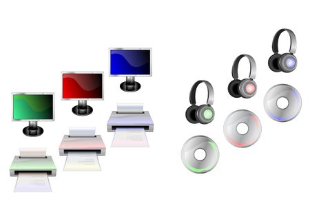 head phones: illustration of glossy technological gadgets icons:  Display, head - phones, printer and disc Stock Photo