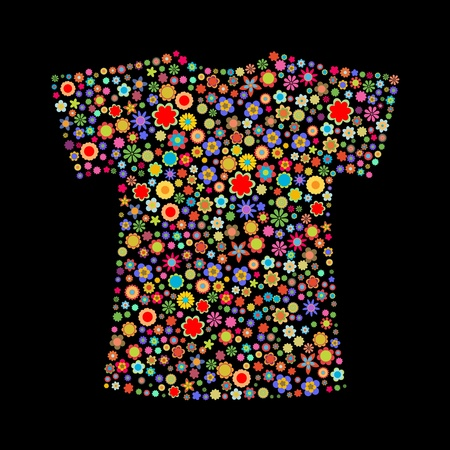 cotton plant: illustration of t-shirt shape  made up a lot of  multicolored small flowers on the black background