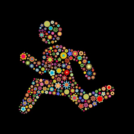 runs: illustration of  runing men shape  made up a lot of  multicolored small flowers on the black background