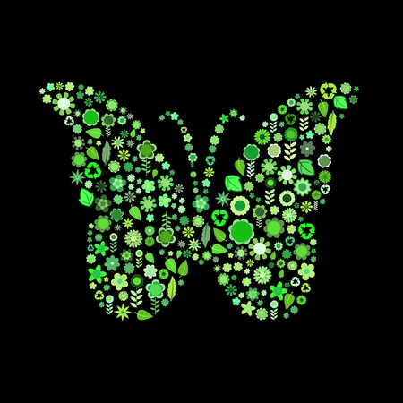 illustration of butterfly shape  made up a lot of  green small flowers and leaf on the black background illustration