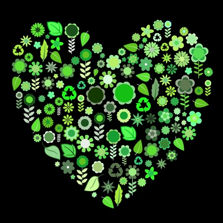 illustration of heart shape made up a lot of  green small flowers and leaf on the black background illustration