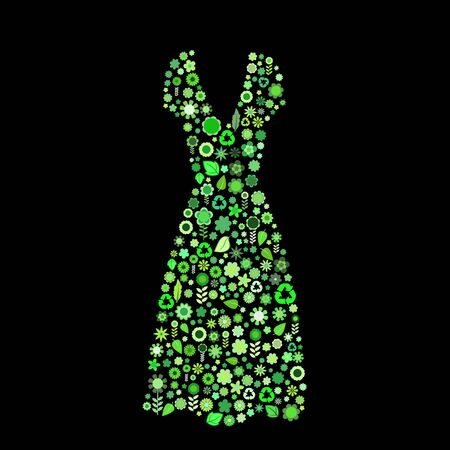 illustration of women dress shape  made up a lot of  green small flowers and leaf on the black background illustration