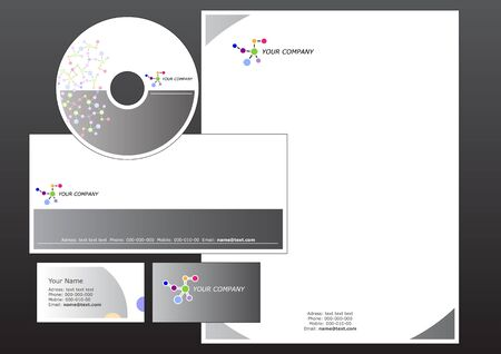 cd label: illustration of modern, corporative set. Includes the design for bussiness card, letterhead, CD label and envelope.