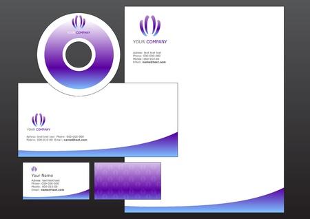 cd label: illustration of modern, business design elements. Includes the design for bussiness card, letterhead, CD label and envelope.