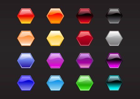 illustration of modern, shiny, hexagon shape buttons on the black background. Stock Illustration - 10742436