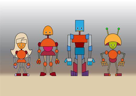 illustration of funny cartoon robots family illustration