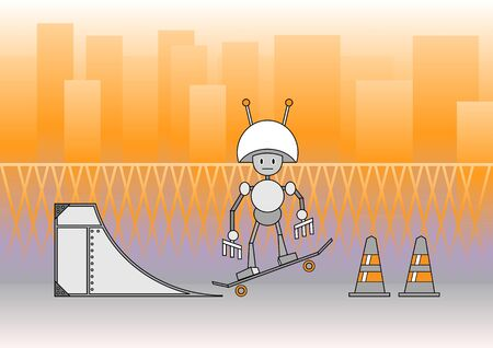 illustration of comic robot with the skateboard on the urban background. Stock Illustration - 10742459