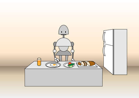 illustration of comic robot on the kitchen, near the table with the meal. illustration