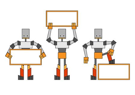 illustration of the funky robots holding the placard. illustration