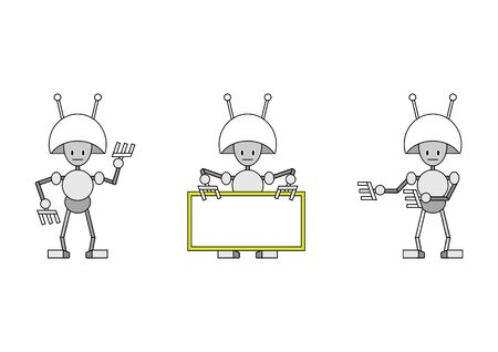 illustration of three funky robots. illustration