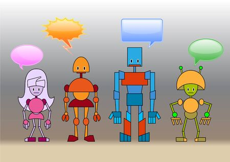 Illustration of funny robots family decorated with comics bubbles illustration