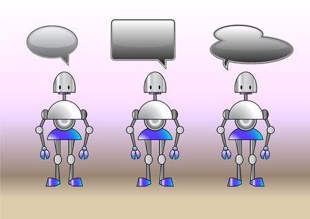 talking robot: Illustration of funny robots decorated with comics bubbles