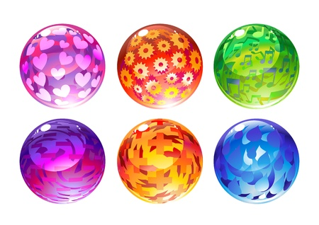 illustration of the beautiful balls set decorated with different objects. illustration