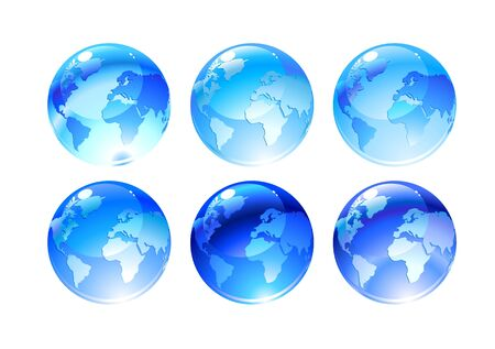 globe asia: Illustration of globe icons with different continents Stock Photo