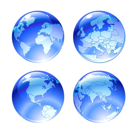 asia pacific: Illustration of globe icons with different continents. Stock Photo