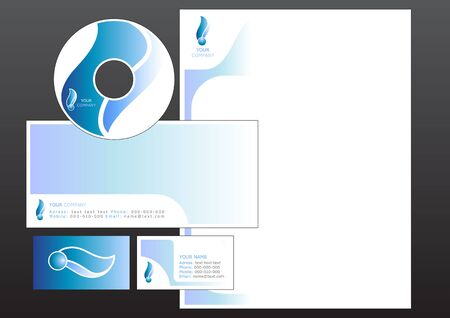 cd label: illustration of modern, design set. Includes the design for bussiness card, letterhead, CD label and envelope.