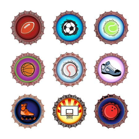 illustration of bottle caps set, decorated with different objects related to sport. illustration