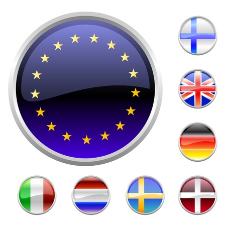english culture: Illustration of round buttons set, decorated with the flags of european countries. Stock Photo