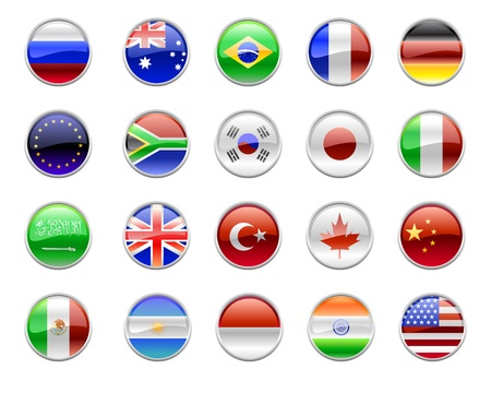 3d button: Illustration of round buttons set, decorated with the flags of the world (G20). Stock Photo
