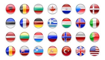 Illustration of round buttons set, decorated with the flags of the NATO countries. illustration