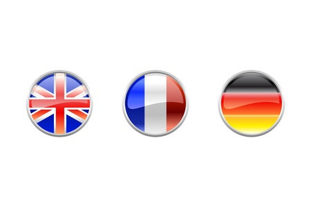 uk flag: Illustration of round buttons set, decorated with the flags of the world (G4).