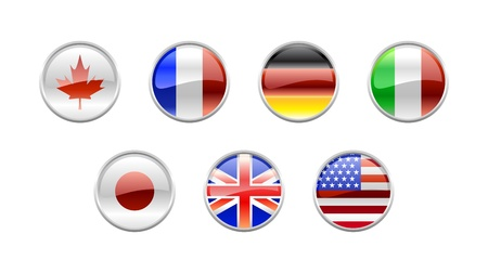 Illustration of round buttons set, decorated with the flags of the world (G7). illustration
