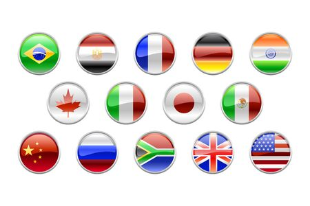 Illustration of round buttons set, decorated with the flags of the world (G14). illustration