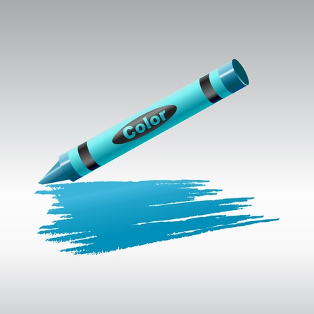 Illustration of crayon drawing on the sheet of paper. illustration