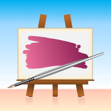 tempera: Illustration of the canvas board and color brush.