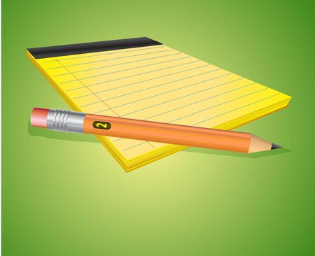 Illustration of the sheet of paper and wooden pencil. illustration