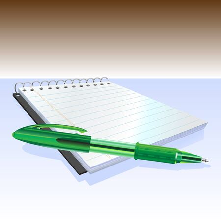 Illustraition of elegant pen and notebook. Stock Photo - 11412431
