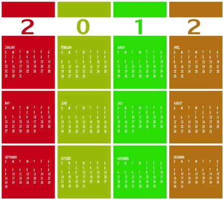 Illustration of style design Colorful Calendar for 2012 Vector