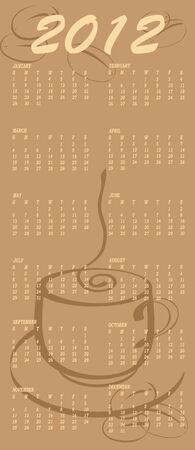 coffeecup: Vector Illustration of coffee style design Calendar for 2012 Illustration