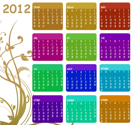 Illustration of style design Colorful Calendar for 2012 Stock Vector - 11412467